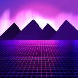 Горы на предпосылке розовых неоновых свет иллюстрация штока