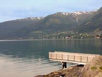 горы озера приближают к трамплину Стоковая Фотография