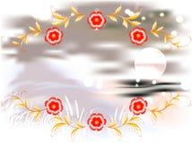 Горы, озеро и орнамент на залитой лунным светом ноче иллюстрация графика феиэрверков eps10 предпосылки черная Стоковое фото RF