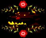 Горы, озеро и орнамент на залитой лунным светом темной ноче иллюстрация графика феиэрверков eps10 предпосылки черная Стоковые Изображения