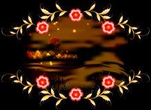 Горы, озеро и орнамент на темной залитой лунным светом ноче иллюстрация графика феиэрверков eps10 предпосылки черная Стоковое Изображение RF