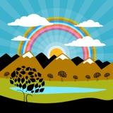Горы природы ландшафта бумажные иллюстрация штока