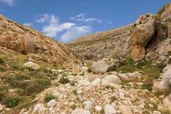 Горы пустыня Негев каньона в Израиле Стоковые Изображения RF