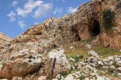 Горы пустыня Негев каньона в Израиле Стоковые Изображения