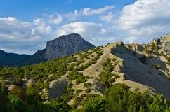 Горы, пуща и небо Стоковые Изображения