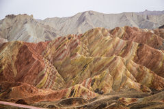 Горы радуги Danxia, провинция Zhangye, Ганьсу, Китай Стоковые Изображения