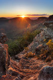 Горы сини Mt Виктории утеса захода солнца Стоковые Изображения RF