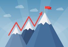 Горы с флагом - подъемом к успеху иллюстрация вектора