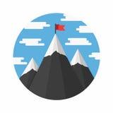 Горы с флагом Стоковые Изображения RF