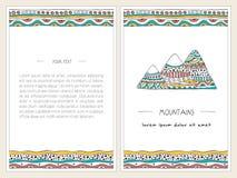 Горы украшенные в дизайне картин doodle Вертикальные установленные знамена Стильный, иллюстрации нарисованные рукой Стоковые Изображения RF