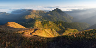 Горы утра панорамы Стоковые Фото