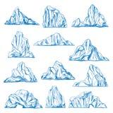 Горы эскиза или руки айсбергов вычерченные иллюстрация штока