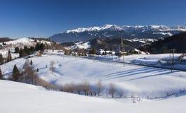 Горы Bucegi в румыне Карпатах, сцене зимы Стоковое Изображение RF