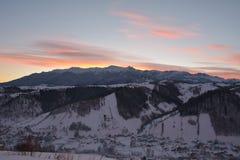 Горы Bucegi на заходе солнца Стоковое Фото