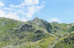 Горы Fagaras, Карпаты с зеленой травой и утесами, облаком Стоковая Фотография RF