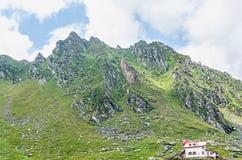 Горы Fagaras, Карпаты с зеленой травой и утесами, пиками Стоковые Фотографии RF