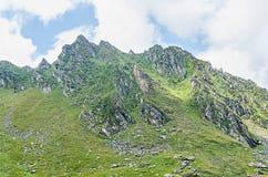 Горы Fagaras, Карпаты с зеленой травой и утесами, пиками Стоковая Фотография