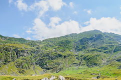 Горы Fagaras, Карпаты с зеленой травой и утесами, пиками Стоковые Изображения