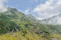 Горы Fagaras, Карпаты с зеленой травой и утесами, пиками Стоковое Фото