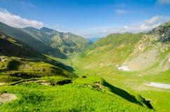 Горы Fagaras, Карпаты с зелеными травой и утесами, пиками Negoiu и Moldoveanu, Румынией, Европой Стоковая Фотография
