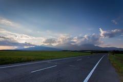 Горы Tatra на заходе солнца Стоковое Изображение