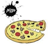 Горячая вкусная пицца иллюстрация штока