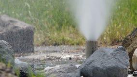 Горячая вода от гейзера видеоматериал
