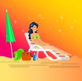 Горячая девушка на пляже также вектор иллюстрации притяжки corel Стоковые Изображения