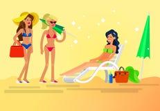 Горячая девушка на пляже также вектор иллюстрации притяжки corel Стоковая Фотография RF
