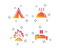 Горячая еда, сон, располагаясь лагерем шатер и знаки огня r иллюстрация вектора