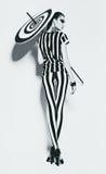 Горячая женщина в striped верхней части и гетры с зонтиком Стоковые Изображения RF