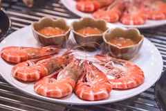 Горячая кипеть и испаренная красная креветка Стоковая Фотография