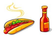 Горячая сосиска и кетчуп Стоковые Изображения RF