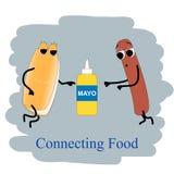 Горячая сосиска и mayo плаката фаст-фуда Стоковое Фото