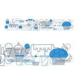 Горячая сосиска, пирожное, чай кофейной чашки и пить, комплект значка закусок Стоковые Фото