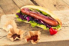 Горячая сосиска с сосиской и приправами Стоковые Фото