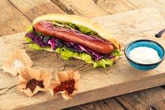 Горячая сосиска с сосиской и приправами Стоковое Изображение