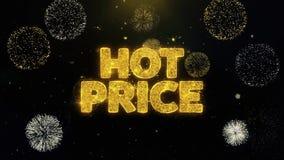 Горячая цена написанная частицы золота взрывая дисплей фейерверков иллюстрация штока
