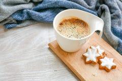 Горячая чашка кофе в холодном утре зимы стоковые изображения rf