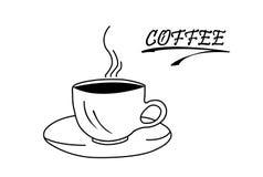 Горячая чашка кофе на поддоннике и надписи, белом backg иллюстрация штока