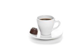 Горячая чашка кофе с конфетой Стоковое фото RF
