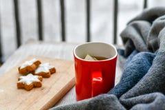 Горячая чашка чаю в холодном утре зимы стоковые изображения