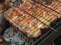 Горячее барбекю в лесе Стоковое Изображение RF