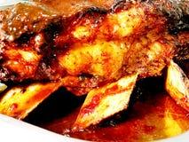 Горячее вкусное барбекю, shashlik, kebab, поднимающее вверх протыкальника близкое Стоковые Изображения RF