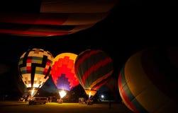 Горячее зарево воздушных шаров Стоковые Изображения