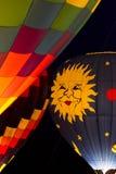 Горячее зарево ночи воздушного шара Стоковые Изображения