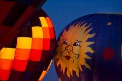 Горячее зарево ночи воздушного шара Стоковые Изображения RF