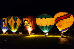Горячее зарево ночи ралли воздушного шара Стоковые Фотографии RF