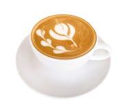 Горячее искусство latte кофе изолированное на белой предпосылке, пути клиппирования Стоковые Фотографии RF