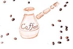 Горячее искусство latte кофе на белой предпосылке стоковые изображения rf